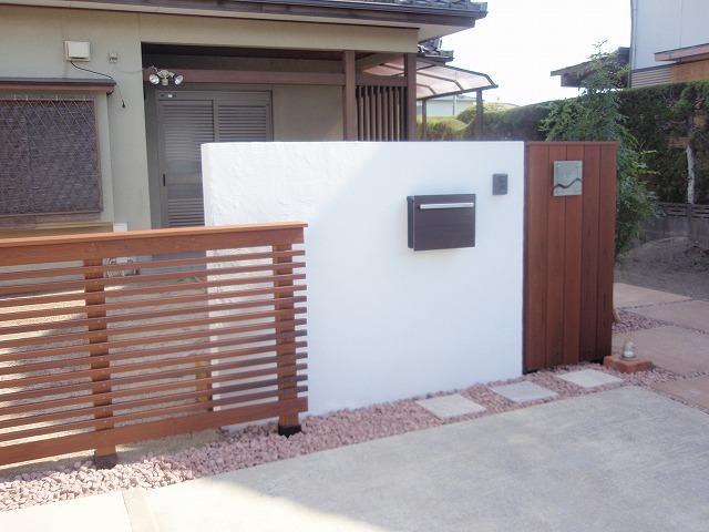 木製デザインフェンス 白壁 リゾート風