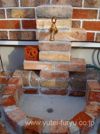 古窯レンガの立水栓