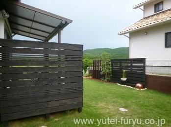木製フェンス施工後