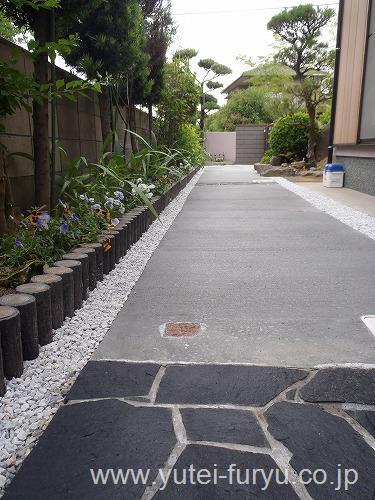アプローチ工事 コンクリート舗装 乱張り ピンコロ石