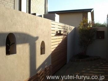 目隠し塀+ウッドフェンス