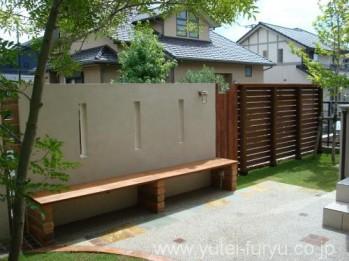 ウッドフェンス+塗壁